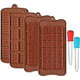 CKANDAY 4 Pezzi Stampi per Barrette Cioccolato, e 2 Trasparenti Liquidi Contagocce, 2 Tipi di Antiaderenti Stampo in Silicone per Caramelle e Barretta Energetica Vassoi con 2 Graduati 5ML Contagocce