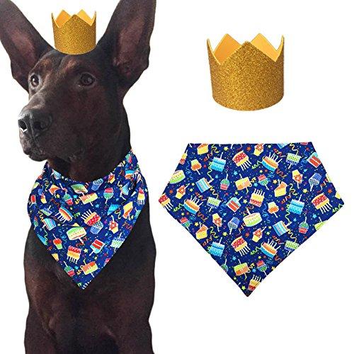 MIAPETTBTB Hund Geburtstag Bandana Triangle Lätzchen Schal Zubehör mit Hat für Haustiere Tiere-Kuchen, Small, Bandana+Hat-2 (Freunde Zwei Für Kostüme Niedliche)