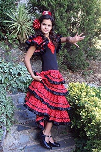 La Senorita vestito Flamenco spagnolo Costume - per ragazza bambini - nero  rosso 4b2b159cab6
