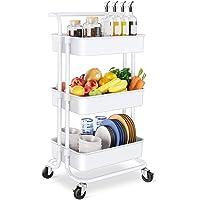 Chariot de Rangement Mobile à 3 Niveaux, Chariot de Service Chariot Multifonctionnel pour salle de bain, cuisine, bureau…