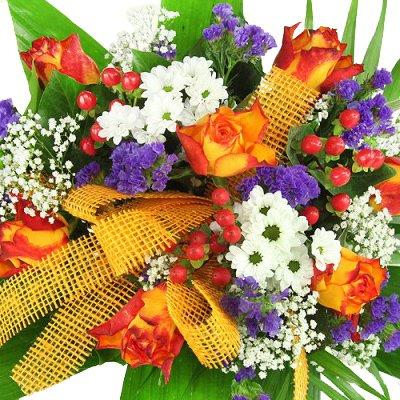 """floristikvergleich.de Blumenstrauß """"Bunter Sommerstrauß"""" mit zweifarbigen Rosen, Mumis und Statizie"""