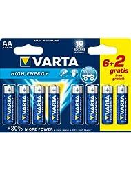 Varta - 4906SO - Piles LR6 High Energy - 6 piles LR6 AA + 2 offertes