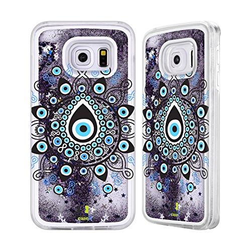 Head Case Designs Nazar Böses Auge Purpur Handyhülle mit flussigem Glitter für Apple iPhone 6 / 6s Nazar