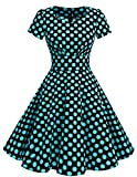 Dresstells Damen Vintage 50er Rockabilly Kurzarm Swing Kleider Partykleid Black Blue Dot 3XL