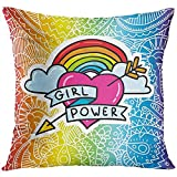 Throw Pillow Cover Cartoon Comic of Arrow Heart with Rainbow and Feminism Sign Girl Power on LGBT Gay with Elegant Lace Decorative Pillow Case Home Decor Square 18x18 inches Pillowcase