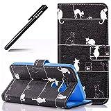 BtDuck LG G5 Hülle, Hülle Leder Innere Weiche Silikon Tasche Flip Cover für LG G5 Handyhülle Brieftasche - Weiße Katze