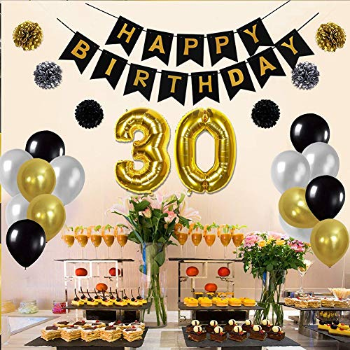 Toupons 30th Birthday Party Decorations Kit Gold Number 30 Ballon 30pcs Black