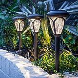 Lights4fun 3 Farolillos Decorativos en Plástico Negro con LED de Energía Solar