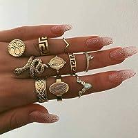 Simsly - Set di anelli per nocche vintage, dorati, con strass e pietre, per donne e ragazze (10 pezzi)