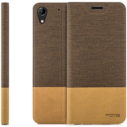 zanasta Designs Tasche HTC Desire 728G Dual Sim, Hülle Flip Case Slim Schutzhülle Handytasche mit Kartenfach, Standfunktion   Hellbraun