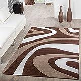 –Alfombra pelo corto Modern Mallorca con ondas patrón marrón beige Mocca, 120 x 170 cm