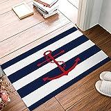 limttednethard Funny Wasserdicht Badezimmer Fußmatte Home Decor Welcome groß, Matte Eingang, mit Indoor-/Outdoor Teppich Boden Teppiche 23,6L x 15,7W Zoll, Rot Anker mit Blau Streifen von