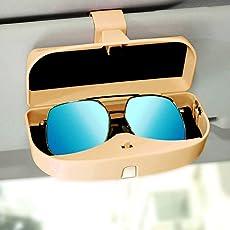 Autofurnish Muiti-Functional Magnetic Car Sunshade Sunglasses Case Visor Glasses Box Goggles Holder-Coffee