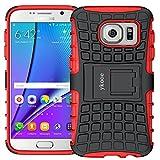 ykooe Handyhülle für Samsung Galaxy S7 Hülle, Silikon Dual Layer Schutzhülle für Samsung S7 Case Hybrid TPU Ständer Galaxy S7 (Rot)
