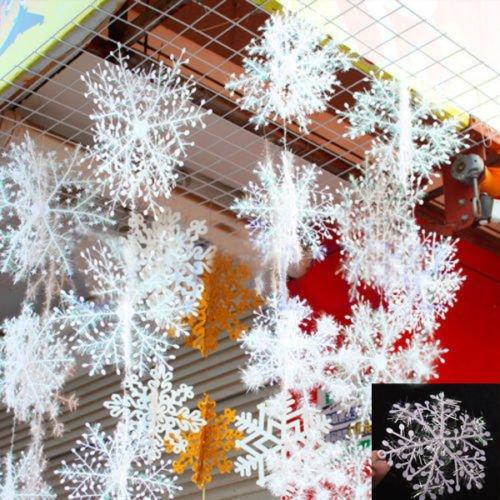 Bodhi2000 30 pcs Blanc Flocons de neige Décorations de Noël Fournitures à suspendre Décorations
