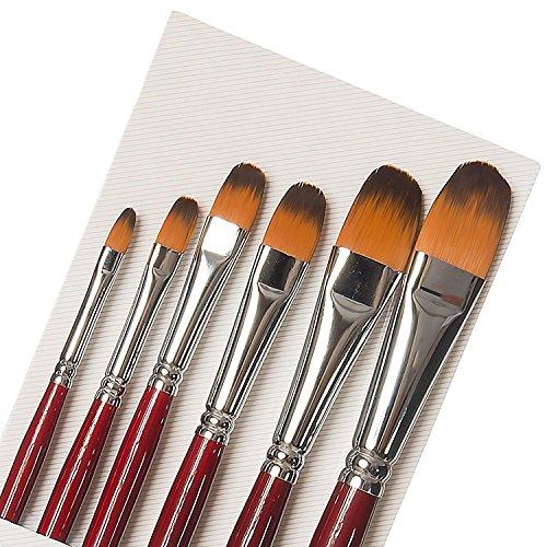 Set di 6 pennelli in 6 misure, punta a forma Filbert, con setole in pelo di martora e donnola e manico in legno di betulla, per pittura ad acquerello, in acrilico e micropittura.