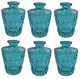 Dekoflasche Glasflasche 3 oder 6 Stück Korkenglas Korkengläser Deko Apotheke Flasche Likörflasche Apothekerglas Vintage Glas (6 Stück, hell blau)
