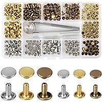 Nieten Einzelkappe Niete Tubular Metall Hohlnieten mit Befestigung Werkzeug Kit für Leder Handwerk Reparaturen Dekoration, 2 Größen, 180 Set