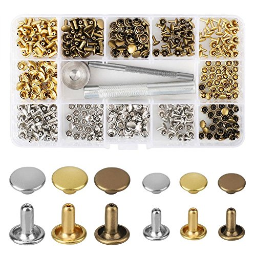 Preisvergleich Produktbild Nieten Einzelkappe Niete Tubular Metall Hohlnieten mit Befestigung Werkzeug Kit für Leder Handwerk Reparaturen Dekoration,  2 Größen,  180 Set