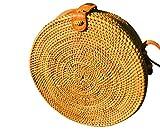 LUZAL Ata Tasche, Red, Bali-Bag, Clip, Korbtasche rund, Bag round, Basketbag, Strohtasche, Rattanbag round, Handmade, Made in Bali, Premiumware, Hochwertig,