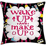 Throw Pillow Quote Cushion Cover, Witty Saying Wake Up Make Up with Cosmetic Icons...