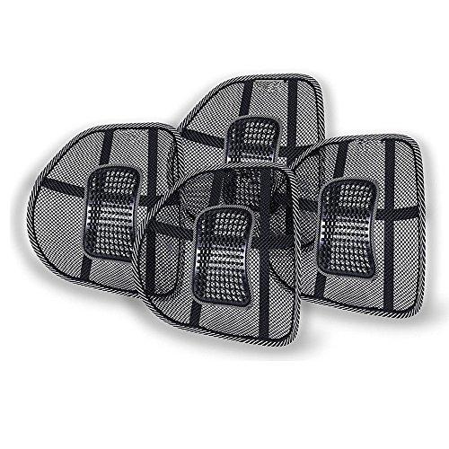 4pz Schienale Ergonomico KT SUPPLY Pad supporto lombare con fascette regolabili per sedie sedile auto e poltrona da ufficio casa, riduce il dolore della sciatica e coccige