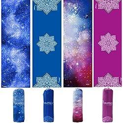 Syourself Toalla de mano y yoga, 183 cm x 61 cm, antideslizante, absorbente, suave, microfibra, toalla para yoga, fitness, ejercicio, deporte y aire libre, incluye bolsa de viaje(Purple Flower)