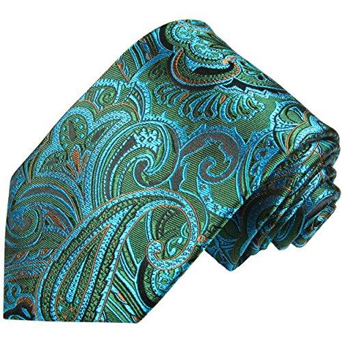 Cravate homme bleu vert paisley 100% cravate en soie ( longueur 165cm )