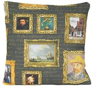 Artiste tournesols Peintures Housse de coussin décor d'oreiller Plaid Case Motif fille avec la perle Boucles d'oreilles 40,6x 40,6cm