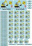 INDIGOS UG Namensaufkleber/Sticker - A4-Bogen - 006 - Bagger - 69 Sticker für Kinder, Schule und Kindergarten - Stifte, Federmappe, Lineale - auch für Erwachsene - individueller Aufdruck
