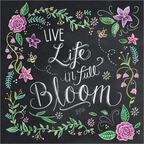 posterlounge stampa su vetro acrilico 120 x 120 cm: live life in full bloom di lily & val/mgl licensing