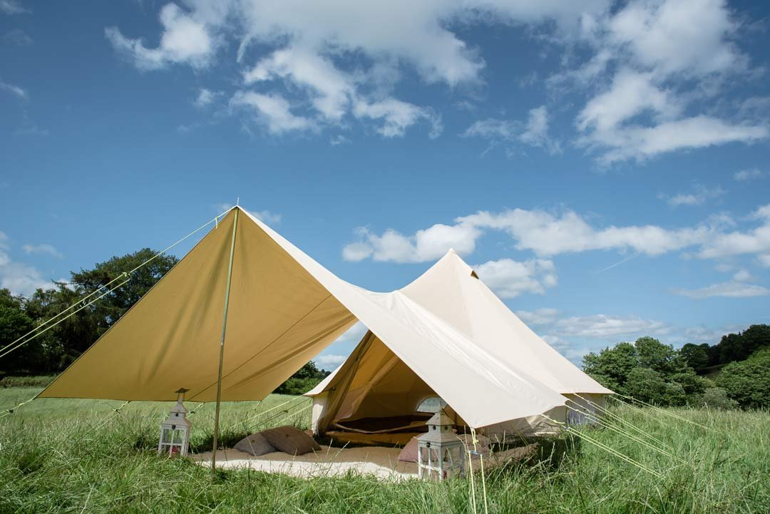 360 x 240cm AWNING 100% Cotton Canvas Suitable for 3m 4m 5m 6m Bell Tent Available in Sand or Grey 2