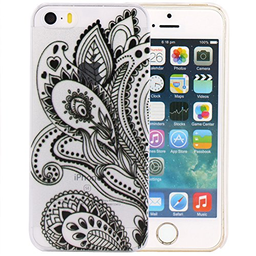 JIAXIUFEN Custodia Cover Case Ultra Slim Hard Plastica Custodia Protettiva Case Cover per Apple iPhone 5 5S -Henna Black Floral Paisley Flower Mandala