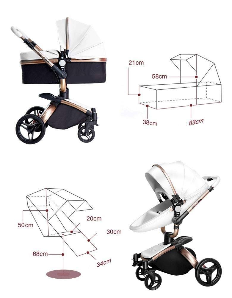 HZC Baby Stroller Bassinet Carriage 3-in-1 Shock-Resistant High Landscape Luxury Pram Stroller for Newborn and Toddler (Color : A) HZC ✔ Completely designed with Safety standard, 100% PU leather material of Egg Seat and Bassinet, this perfect match feel more luxurious and fashionable and easy to clean ✔ In the sleeping basket mode, the 360-degree rotation function allows the cart seconds to change the cradle, sitting and lying double mode, switching in any way ✔ DOCTOR recommends: Newborns are not fully developed due to bone development. A sleeping basket stroller is recommended. The baby's skull is not long, the neck and spine are very fragile. In the baby stroller with poor shock resistance, it is easy to cause physical damage to the baby! 3