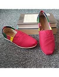 9e97fa0b197 YOPAIYA Alpargatas Lona Roja De La Moda De Las Mujeres De Los Zapatos  Planos De Las