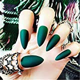 BloomingBoom 24Pcs/Lot Falsche Nägel Falscher Nagel Volle Deckung Bereits Gefärbt False Nail for Predesign Press On Pointed Stiletto Pure Farbe Matt Matte Dunkelgrün