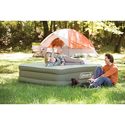 61UFyNqyZTL. SS500  - Coleman Airbed Maxi Comfort Bed Raised King, Camping Mat, Flocked Air Bed, Inflatable Double Height Air Mattress, Blow…