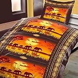 2tlg Warme Winter Bettwäsche Baumwolle Biber 1x 135x200 + 1x 80 x80 NEU Elefanten Karawane