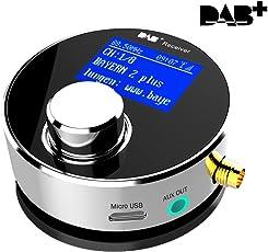 Dual-Use DAB/DAB+ Radio Empfänger mit Verbesserter Omni-Direktional drinnen&draußen SMA DAB Antenne für Autoradio/Heim Stereo Anlage, Esuper Mini Tragbarer Digital Radio Adapter&FM Transmitter/Aux-Out