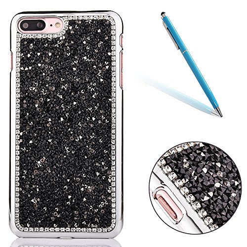 "iPhone 7Plus Hülle, iPhone 7Plus Kristall Motiv Handytasche, Bling Glitzer Diamant Series CLTPY 3D Kreativ Überzug Hartplastik Schutzfall für 5.5"" Apple iPhone 7Plus (Nicht iPhone 7) + 1 x Stift - Sil Schwarz"