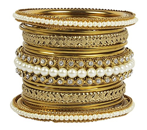 MUCH MORE Pearl Added Kada Metal Bangles Set Women