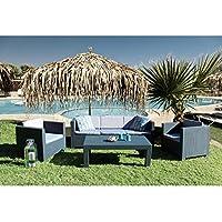 Concept-Usine Tropea: Salon de jardin 5 places effet résine tressée anthracite