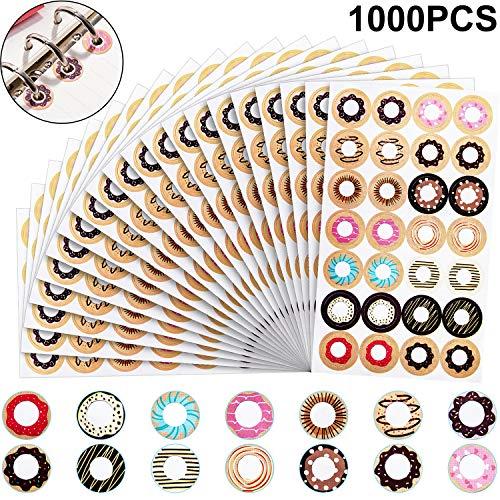 Selbstklebend Set von Fashion Lose-Blatt Papier Verstärkung Ring, Sortierte Donut Designs, Ideal für Schule, Haus und Büro (1000 Stücke, Mischfarbe)