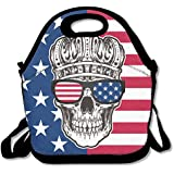 American Crown Skull In Sunglasses Handy Portable Zipper Lunch Box Lunch Tote Lunch Tote Bags