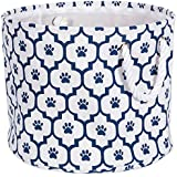 """DII Bone Dry Small Round Pet Toy And Accessory Storage Bin, 12""""(Dia) X 9""""(H), Collapsible Organizer Storage Basket For Home Décor, Pet Toy, Blankets, Leashes And Food-Navy Lattice Paw Print"""