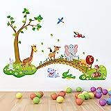 decalmile Sticker Muraux Animaux de la Jungle Autocollant Mural Arbre Lion Girafe Éléphant Chambre Enfants Bébé Salon Décorat