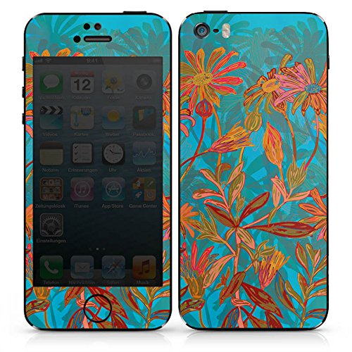 Apple iPhone SE Case Skin Sticker aus Vinyl-Folie Aufkleber Herbstblumen Blumen Muster DesignSkins® glänzend