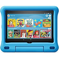 The new Fire HD 8 Kids Edition tablet, 8-inch HD display, 32 GB, blue child-friendly cover