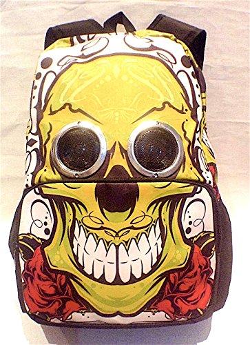 Miglior Nuovo altoparlante, Zaino con altoparlanti di lavoro reali giallo teschio sorridente, funziona con qualsiasi dispositivo, facile da usare