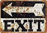 HALEY GAINES Exit Left Arrow Métal Mur Affiche Vintage Étain Mural Signe Décorative Métallique Panneau Rétro Plaque pour Bar Cafés Cuisines Maison Garages 20×30cm